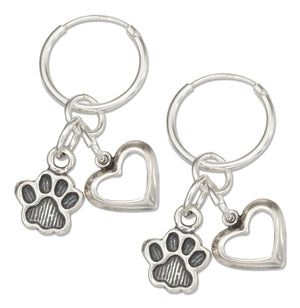 Sterling Silver Hoop Earrings with Heart and Paw Print Dangles