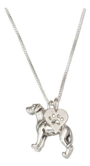Sterling Silver 18 inch Great Dane Necklace with Dog Paw Print Heart Pendant