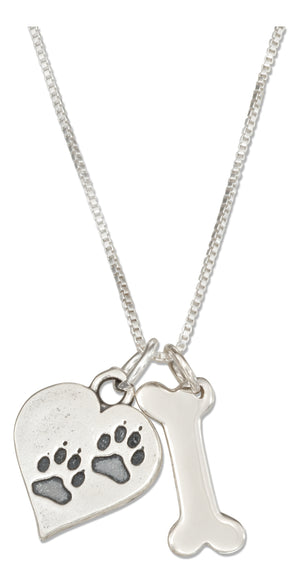 Sterling Silver 18 inch Dog Bone Necklace with Dog Paw Prints Heart Charm