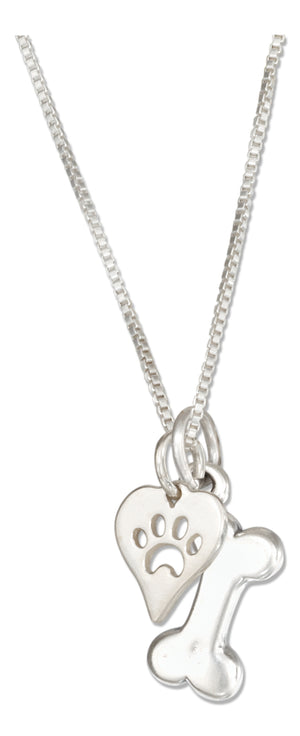 Sterling Silver 18 inch Dog Bone Necklace with Dog Paw Print Heart Charm