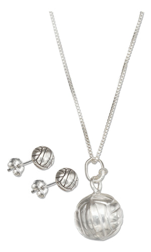 Sterling Silver 18 inch Volleyball Pendant Necklace with Volleyball Earrings Set