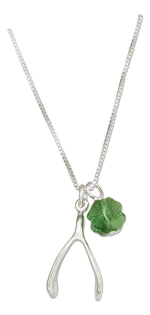 Sterling Silver 18 inch Wishbone Necklace with Four Leaf Clover Green Crystal Pendant