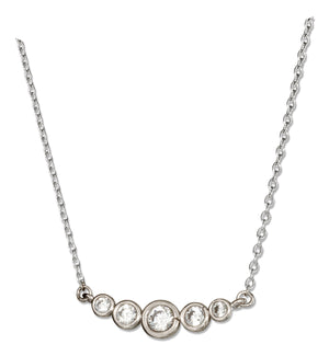 Sterling Silver 16 inch to 18 inch Adjustable Graduated Crescent Cubic Zirconia Necklace