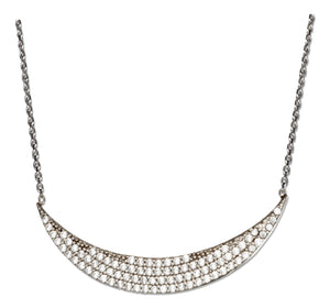 Sterling Silver 16 inch to 18 inch Adjustable Micro Pave Cubic Zirconia Crescent Necklace