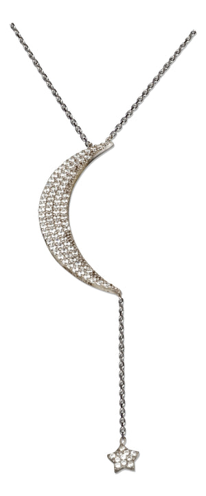 Sterling Silver 16 inch to 18 inch Adjustable Micro Pave Cubic Zirconia Crescent Moon with Star Necklace
