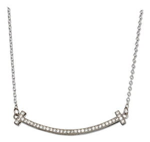 Sterling Silver 16 inch to 18 inch Adjustable Micro Pave Cubic Zirconia Smile Necklace
