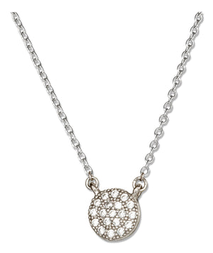 Sterling Silver 14 inch to 16 inch Adjustable Micro Pave Cubic Zirconia Button Necklace