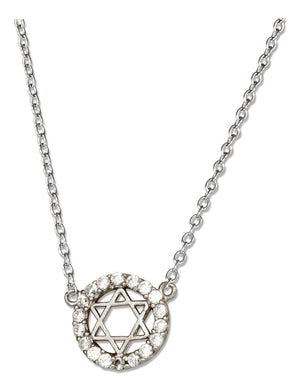 Sterling Silver 16 inch to 18 inch Adjustable Micro Pave Circle with Star Of David Necklace