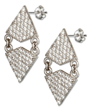 Sterling Silver Dangling Micro Pave Cubic Zirconia Double Kite Earrings