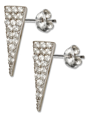 Sterling Silver Micro Pave Cubic Zirconia Triangle Earrings