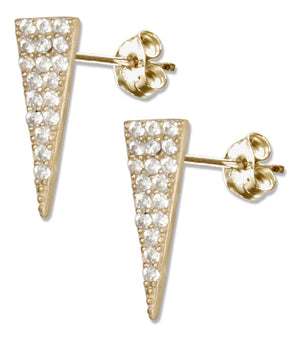 Sterling Silver Gold Colored Triangle with Micro Pave Cubic Zirconia Earrings