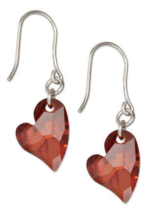 Sterling Silver Red Swarovski Crystal Lopsided Heart Earrings