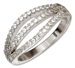 Sterling Silver Triple Row Micro Pave Cubic Zirconia Ring
