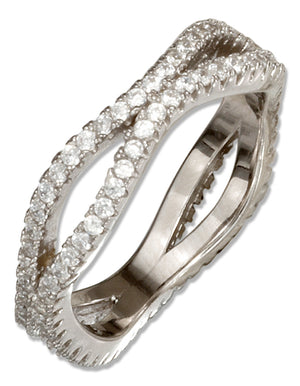 Sterling Silver Double Wave Micro Pave Cubic Zirconia Band Ring