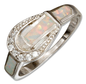 Sterling Silver Cubic Zirconia and Synthetic White Opal Belt Buckle Ring