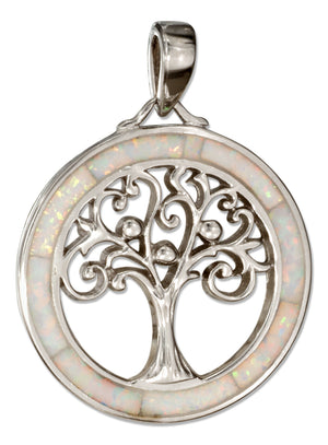 Sterling Silver Round Synthetic White Opal Frame with Tree Pendant