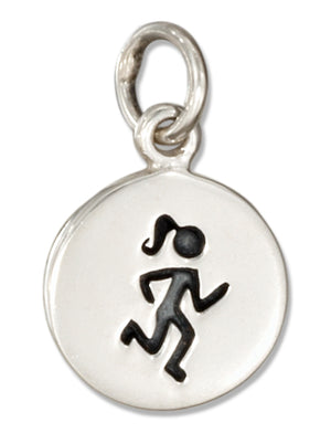 Sterling Silver Round Girl Runner Charm