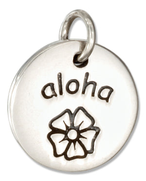 "Sterling Silver Round ""Aloha"" Message Charm with Flower"