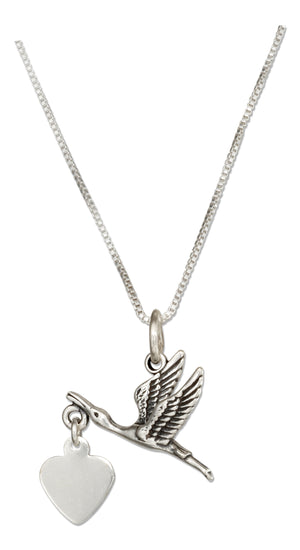 Sterling Silver 18 inch Stork Necklace with Dangling Heart Expecting Mother Pendant