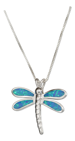 Sterling Silver 18 inch Synthetic Blue Opal Dragonfly Pendant Necklace