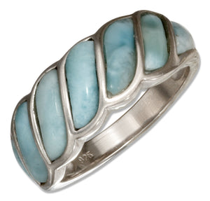Sterling Silver Swoosh Seven Stone Larimar Band Ring