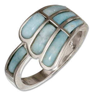 Sterling Silver Angel Wing Larimar Ring