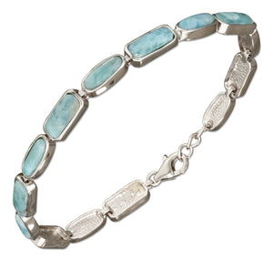 Sterling Silver 8 inch Rectangle and Oval Shapes Link Larimar Bracelet