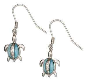 Sterling Silver Pave Cubic Zirconia and Larimar Turtle Earrings