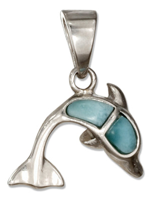 Sterling Silver Larimar Dolphin Pendant