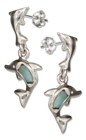 Sterling Silver Playful Larimar Dolphin Dangle Earrings