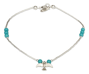 Sterling Silver 9 inch Liquid Silver and Simulated Turquoise Anklet with Bird Charm