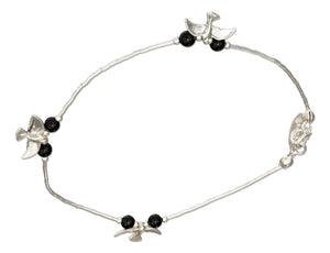 Sterling Silver 9 inch Liquid Silver and Black Onyx Anklet with Bird Charms