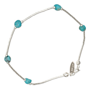 Sterling Silver 9 inch Liquid Silver and Simulated Turquoise Nugget Anklet
