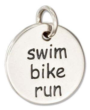 "Sterling Silver Round Two Sided Triathalon ""Swim Bike Run"" Message Charm"