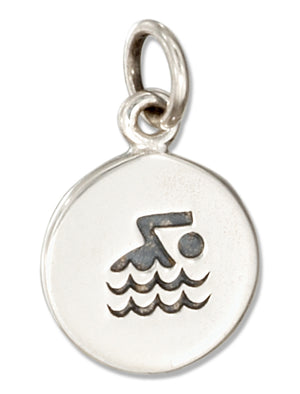 Sterling Silver Round Swimmer Symbol Charm