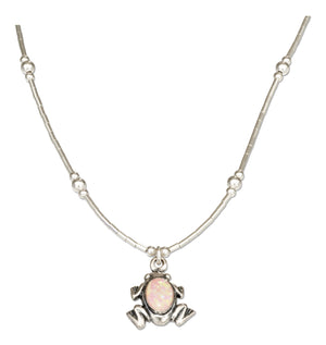 Sterling Silver 16 inch Liquid Silver and Synthetic Pink Opal Frog Necklace