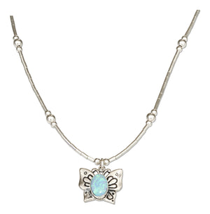 Sterling Silver 16 inch Liquid Silver and Synthetic Blue Opal Butterfly Necklace