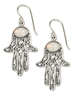 Sterling Silver Filigree Hamsa Hand Of God Earrings with Synthetic White Opal