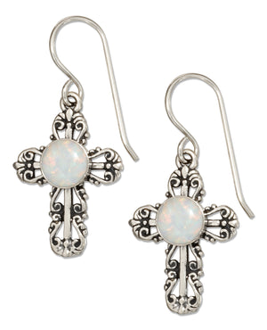 Sterling Silver Filigree Cross Earrings with Synthetic White Opal