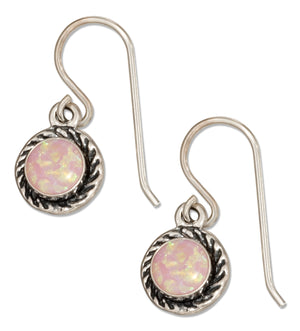Sterling Silver Round Pink Synthetic Opal Earrings with Roped Frame