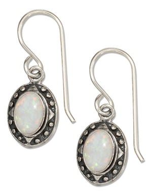 Sterling Silver Oval Synthetic White Opal Earrings with Beaded Frame