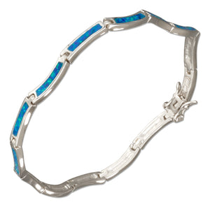 Sterling Silver 7.5 inch Wavy Link Synthetic Blue Opal Bracelet