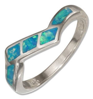 Sterling Silver Synthetic Blue Opal Zigzag Band Ring