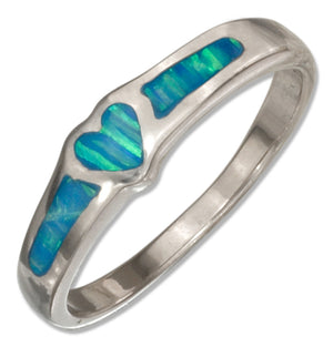 Sterling Silver Synthetic Blue Opal Heart Band Ring