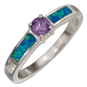 Sterling Silver Round Purple Cubic Zirconia and Synthetic Blue Opal Ring