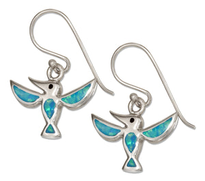 Sterling Silver Synthetic Blue Opal Hummingbird Earrings