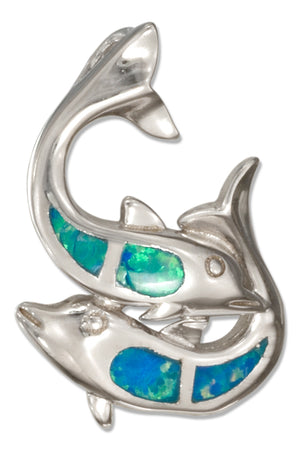 Sterling Silver Playful Double Dolphin Pendant with Synthetic Opal Inlay