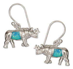 Sterling Silver Rhinoceros Earrings with Synthetic Blue Opal Inlay