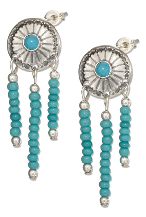Sterling Silver Simulated Turquoise Concho Earrings with Pony Bead Fringe