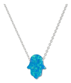 Sterling Silver Adjustable 15 inch to 17 inch Synthetic Blue Opal Hand Of God Hamsa Necklace